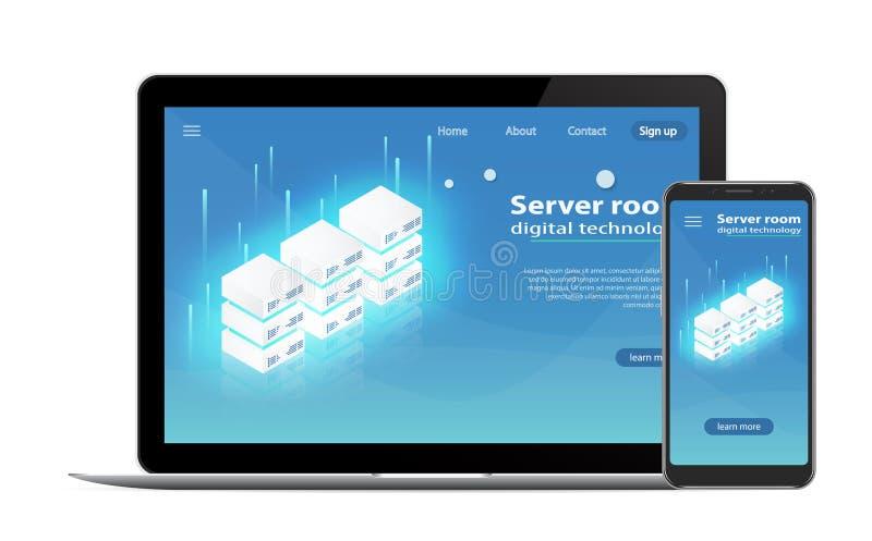 服务器主持的概念 服务器室象,处理信息的请求,电脑技术 库存例证