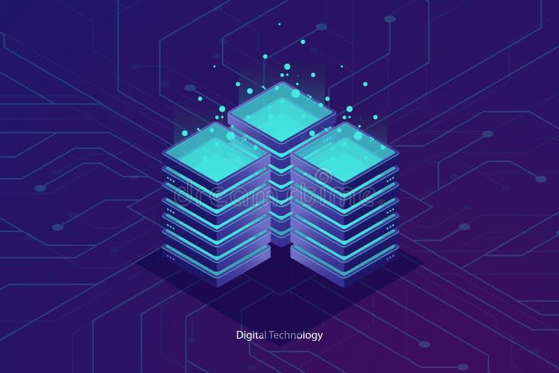 服务器室,云彩数据覆盖存贮,大数据处理概念、网络和互联网conncetion 向量例证