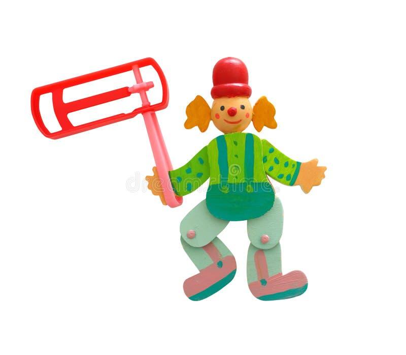 木五颜六色的小丑和塑料发出大声音的人 图库摄影