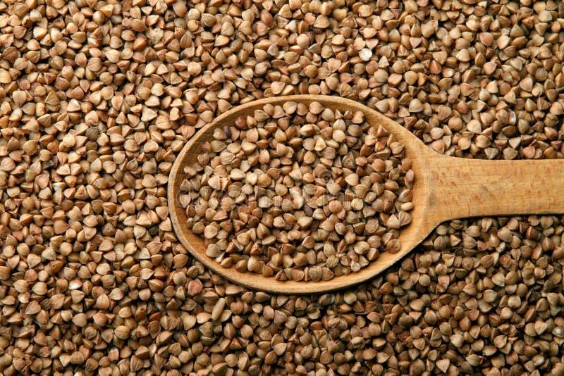 木的荞麦接近的匙子 库存图片