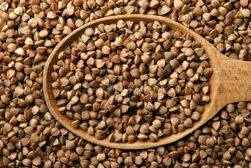 木的荞麦接近的匙子 免版税库存图片