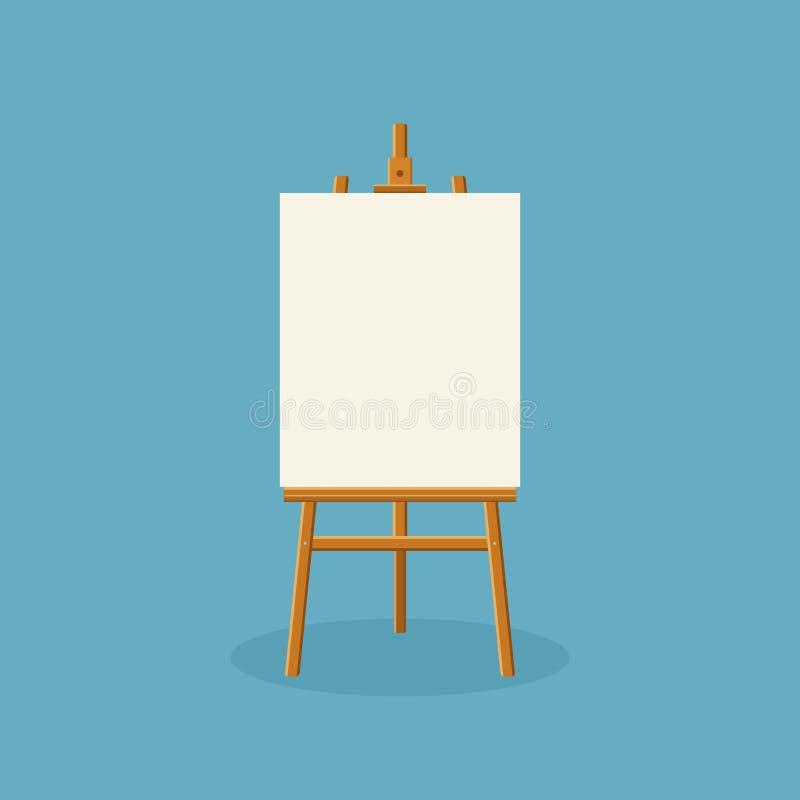 木画架或绘的艺术委员会有白色帆布的在蓝色背景 有纸板料的画架 艺术品空白的海报 库存例证