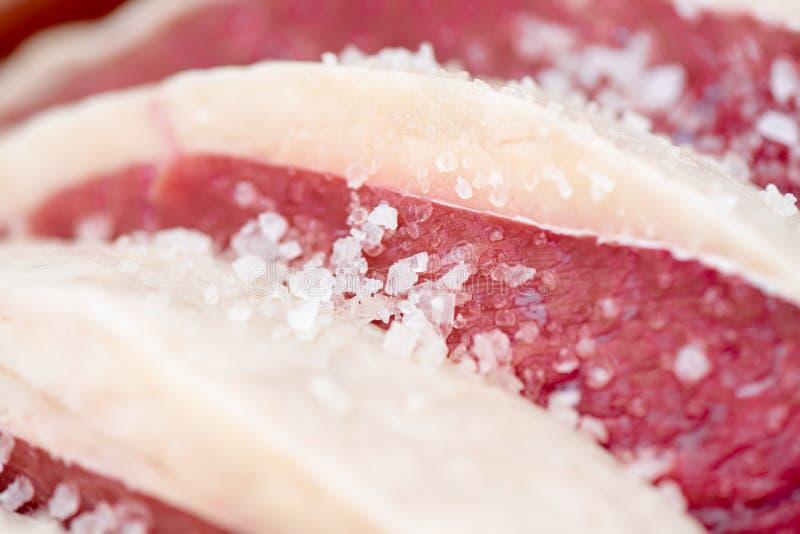 未加工的Bqq和盐油脂肉 免版税库存图片