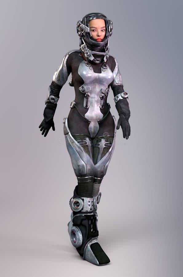 未来派成套装备的女性宇航员 皇族释放例证