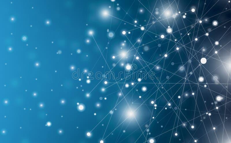 未来派摘要照亮线和小点连接明亮蓝色在黑背景,与概念性奇迹行动图表为 库存例证