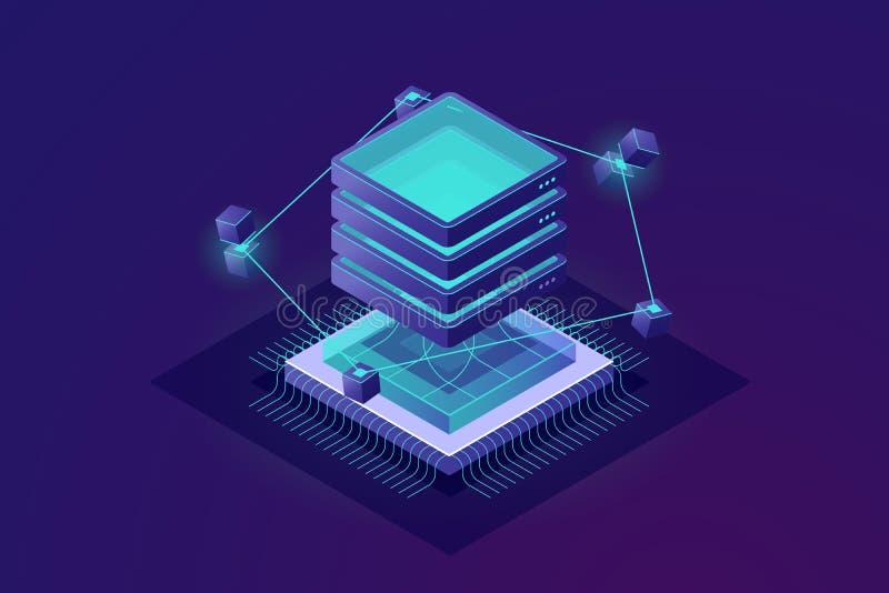 未来等量象,大数据处理抽象概念,服务器室,云彩计算的技术 库存例证