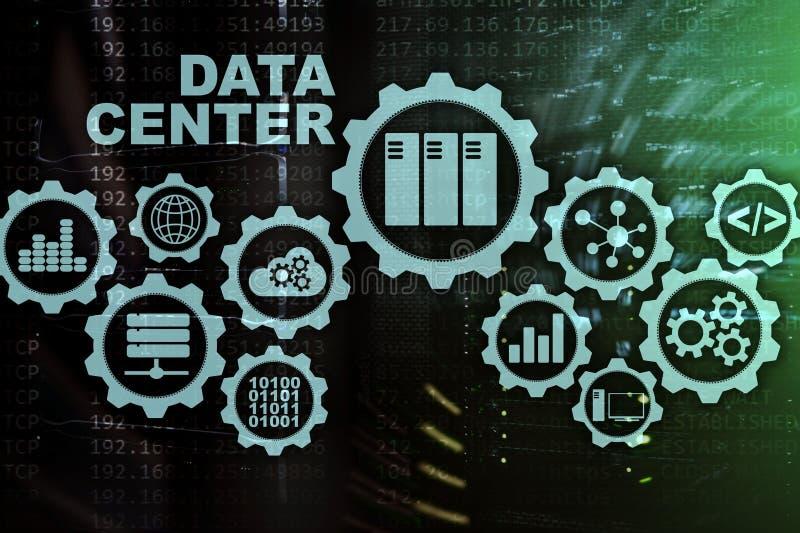 未来的数据中心在一个虚屏上的 企业信息技术概念 存放数据和巩固 库存例证