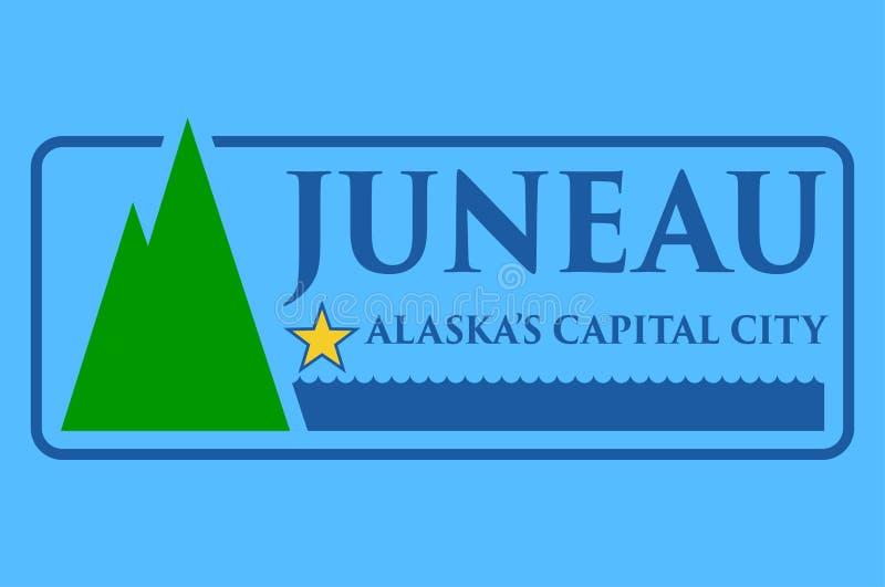 朱诺旗子阿拉斯加,美国的首都 向量例证