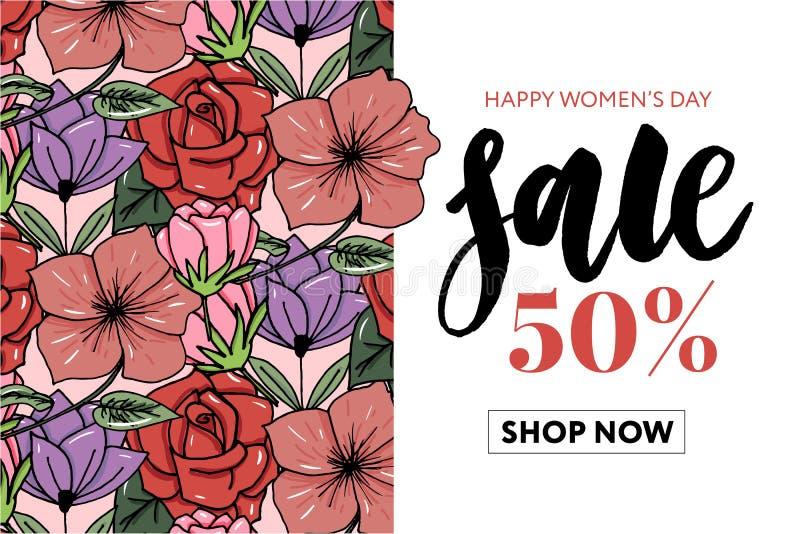 3月8日愉快的Women';s天销售横幅 与礼物盒的美好的背景在心形,玫瑰花瓣,唇膏,弓和 库存例证