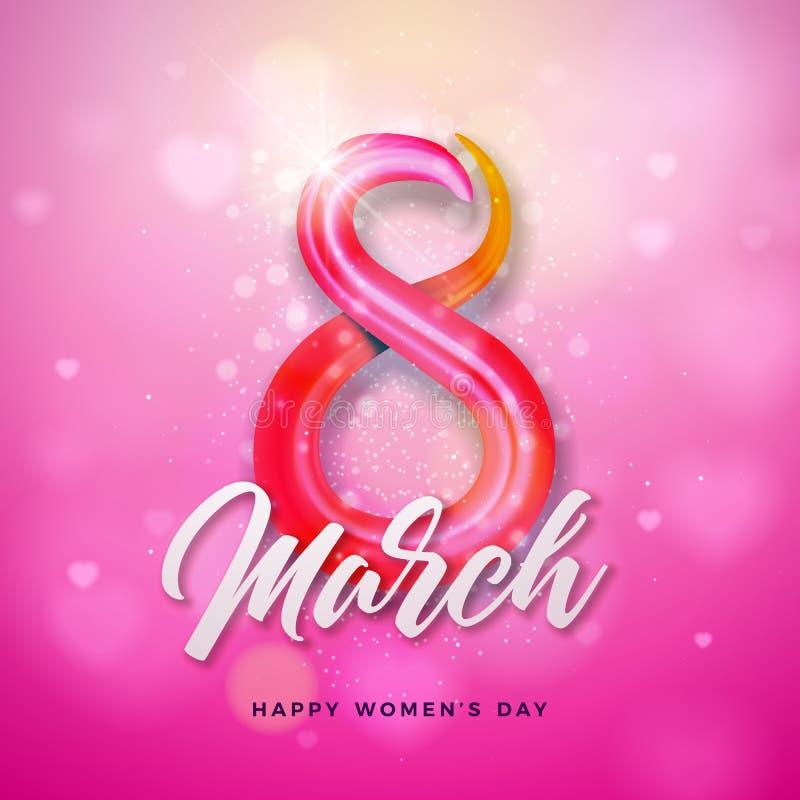3月8日 愉快的妇女天贺卡设计 与3d五颜六色的八数字的国际女性假日例证 向量例证