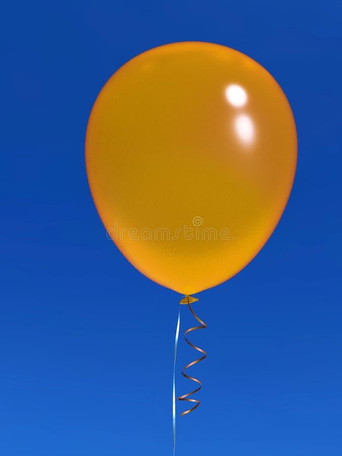 有丝带的唯一氦气气球在天空蔚蓝 免版税图库摄影