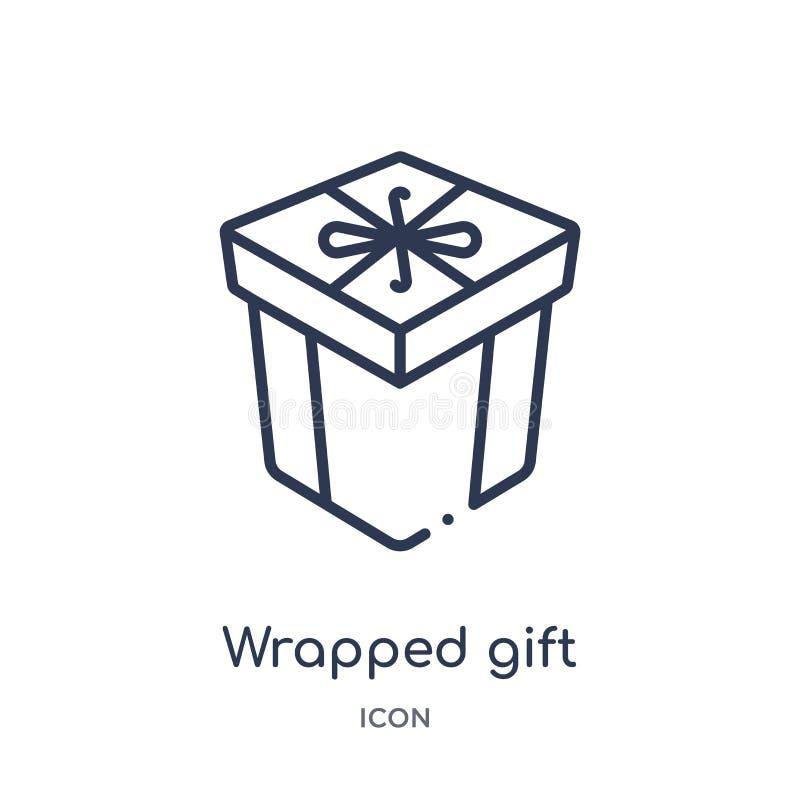 有丝带象的线性被包裹的礼物盒从商务概述汇集 稀薄的线包裹了有被隔绝的丝带象的礼物盒  皇族释放例证