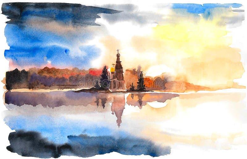 有一个教会的海岛湖的 库存图片