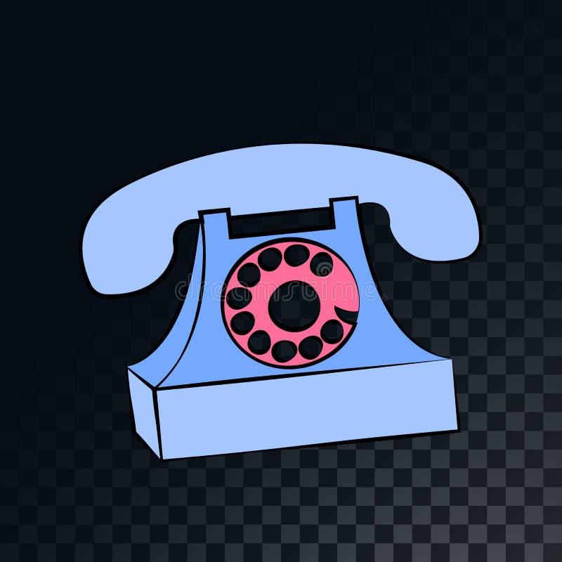 有一个手机的一个老减速火箭的葡萄酒固定的输送路线电话从20世纪70年代,80s,在透亮黑暗的被摆正的灰色背景的90s 向量例证