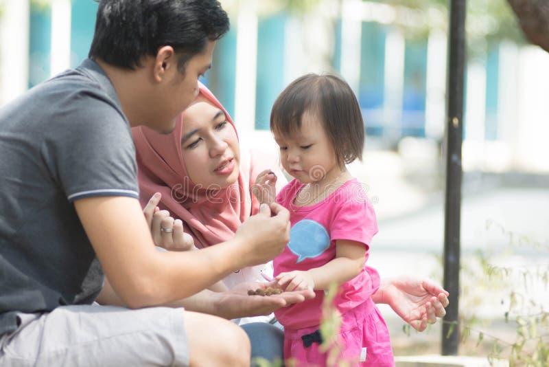 有一使用在公园和女孩的孩子的年轻回教家庭显示某事从她的父亲在好日子 免版税图库摄影