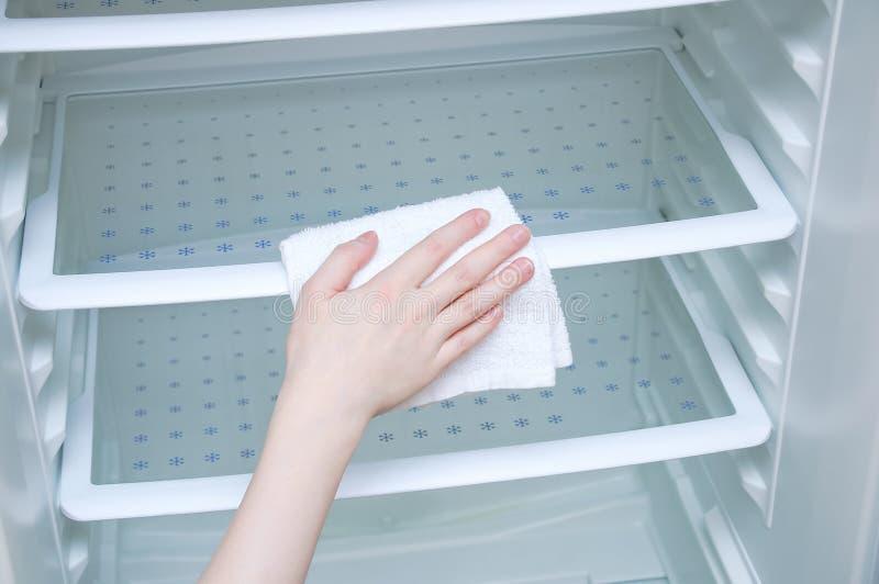 有一块白色旧布的手白种人女孩洗涤冰箱 免版税图库摄影