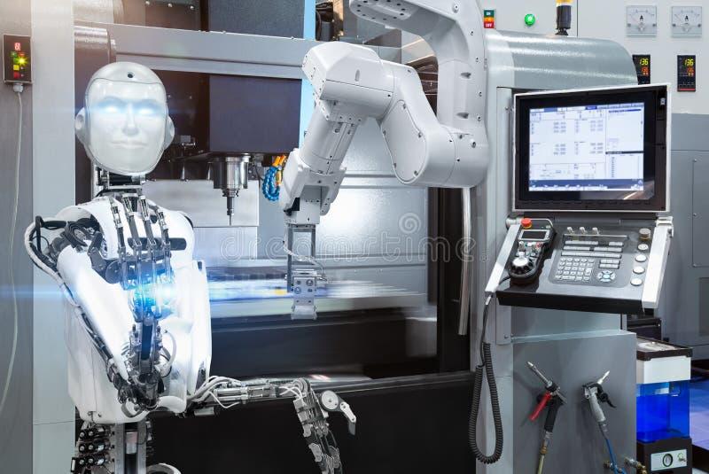 有人的特点的机器人控制自动机器人工业与CNC机器在聪明的工厂 未来技术概念 免版税库存照片