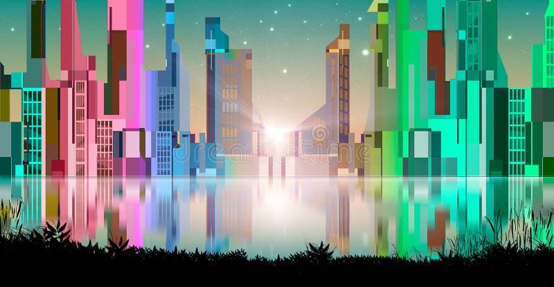 有反射的现代抽象五颜六色的城市在水和黑土地剪影 有星的,概念性例证城市 皇族释放例证