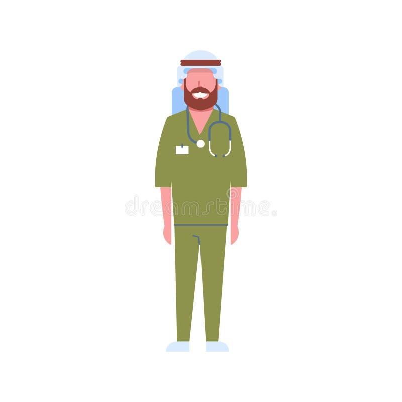 有听诊器阿拉伯人keffiyeh的和绿色一致的医院医学工作者卡通人物的阿拉伯男性医生 向量例证