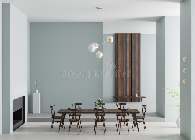 有壁炉的宽敞豪华餐厅 最低纲领派现代餐厅设计 3d例证 库存图片