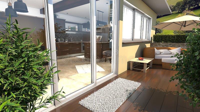 有大植物和木地板3D例证的阳台 库存例证