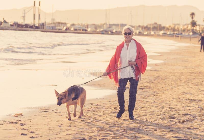 有她的走在海滩的德国shepard狗的愉快的可爱的资深妇女在秋天日落 免版税图库摄影