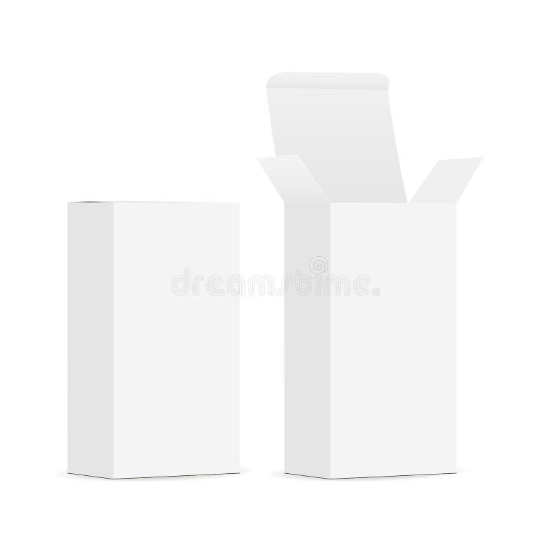 有开放,闭合的盒盖的两个空白的长方形箱子 图库摄影