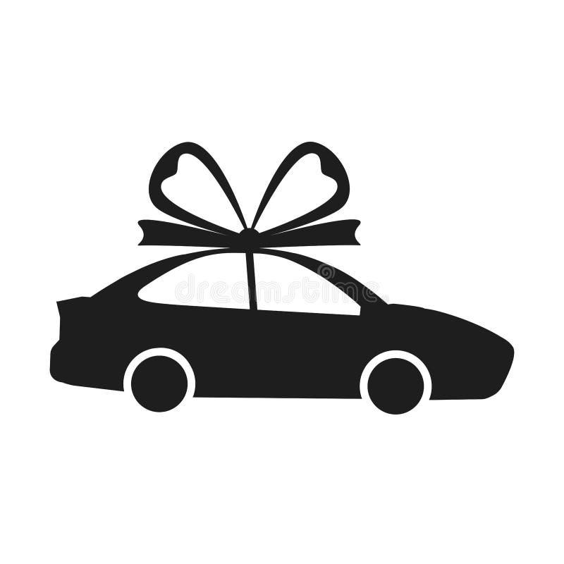 有在白色背景隔绝的弓的汽车 汽车,汽车象 企业轿车 礼物,当前,新的购买概念 平的传染媒介 免版税库存图片