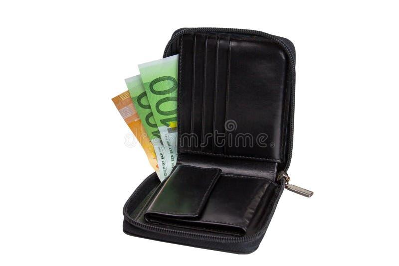 有在白色背景隔绝的现金欧元钞票的黑皮革钱包 免版税库存图片