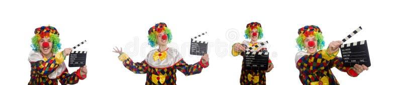 有在白色隔绝的电影拍板的小丑 图库摄影