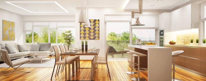 有厨房的豪华现代客厅一空间的 免版税库存照片
