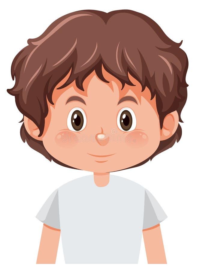 有棕色头发的年轻男孩 向量例证