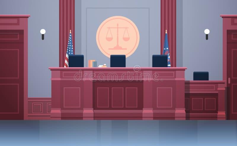 有法官工作场所椅子和桌现代法院大楼内部正义和法律学概念的空的法庭 库存例证