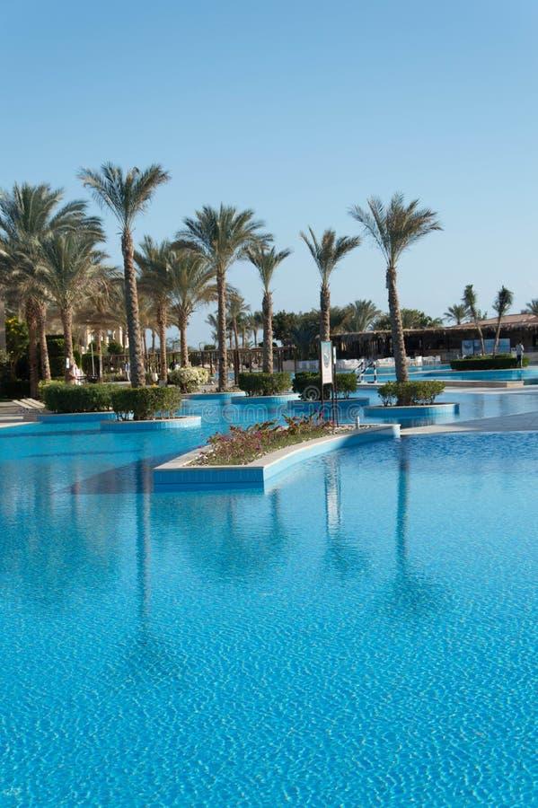 有游泳场的非洲豪华旅游胜地 免版税库存照片