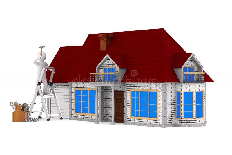 有木工具箱的安装工 被隔绝的3d例证 向量例证