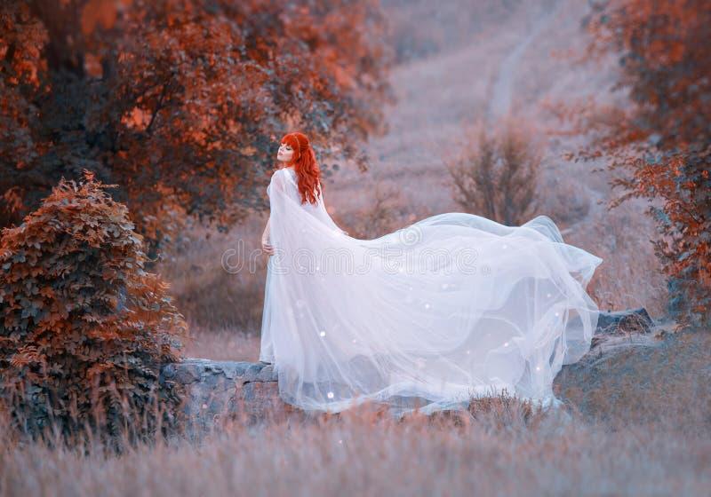 有明亮的橙红卷发的迷人的女孩在石桥梁在秋天森林里,图象的可爱的矮子公主  库存照片