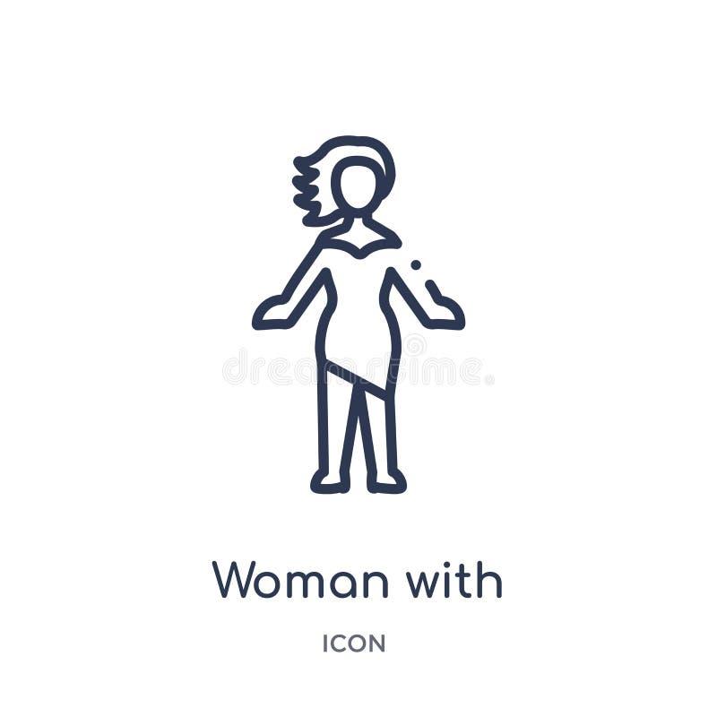 有时髦的头发象的线性妇女从夫人概述汇集 与在白色隔绝的时髦的头发象的稀薄的线妇女 皇族释放例证