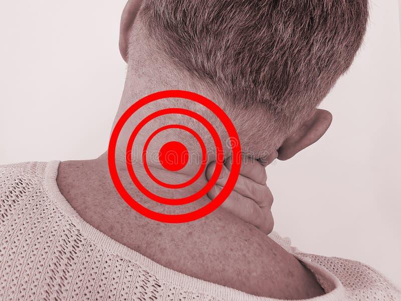 按摩病症重音脊柱侧凸遭受的炎症的人成人疼痛脖子椎骨伤害痛苦 免版税库存照片