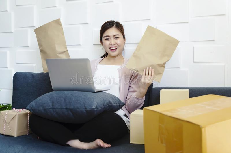 有新的网上企业工作的成功的年轻企业家妇女在家 免版税库存图片