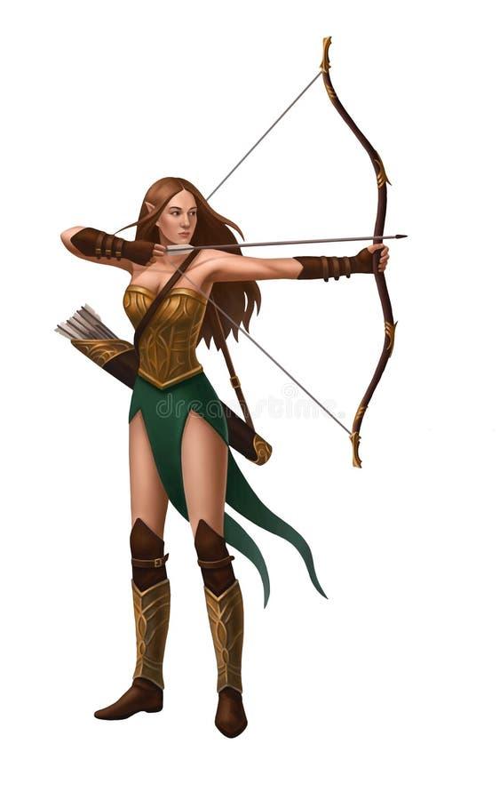 有箭头弓和颤抖的被隔绝的矮子女孩  向量例证