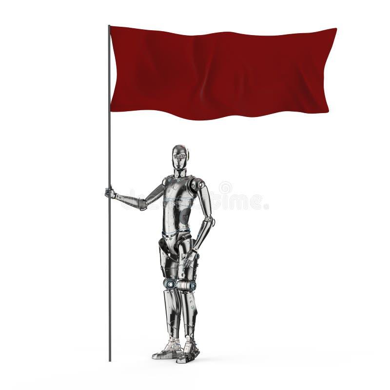 有红旗的机器人 皇族释放例证