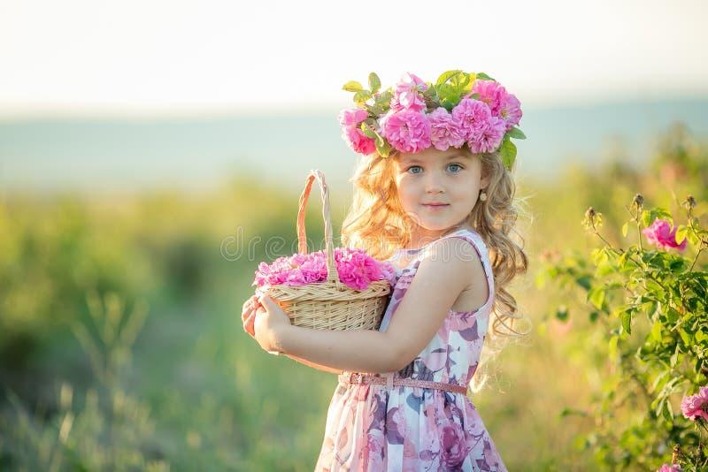 有美丽的长的金发的一女孩,穿戴在一件轻的礼服和真正的花花圈在她的头的,在 免版税库存图片