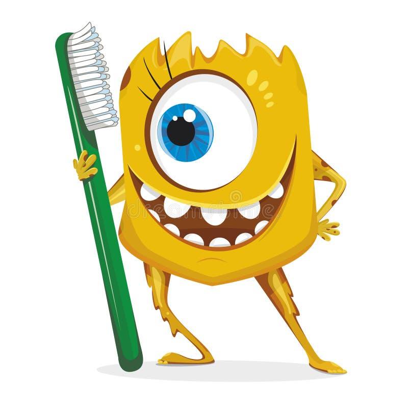 有牙刷的动画片黄色妖怪 向量例证