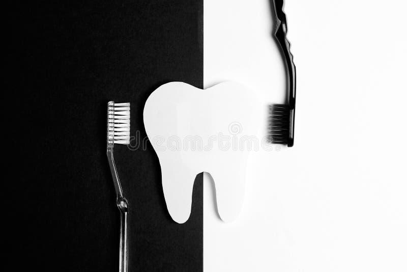 有牙刷的白色牙在黑白背景 库存照片