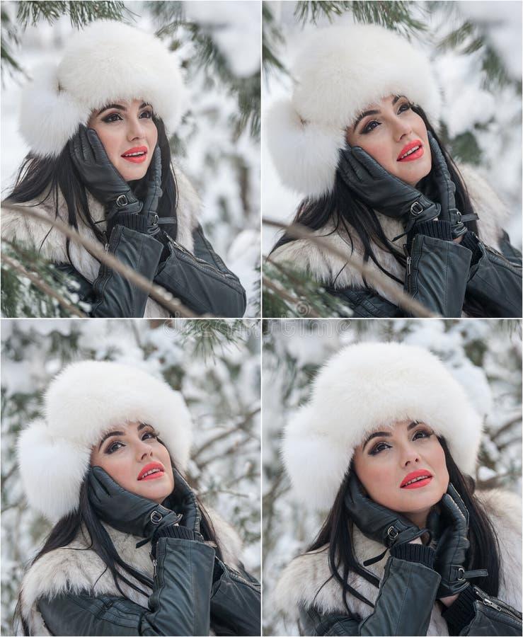 有白色毛皮盖帽和背心的妇女享受冬天风景的在铁篱芭附近 有吸引力的长的头发深色女孩摆在 免版税库存照片