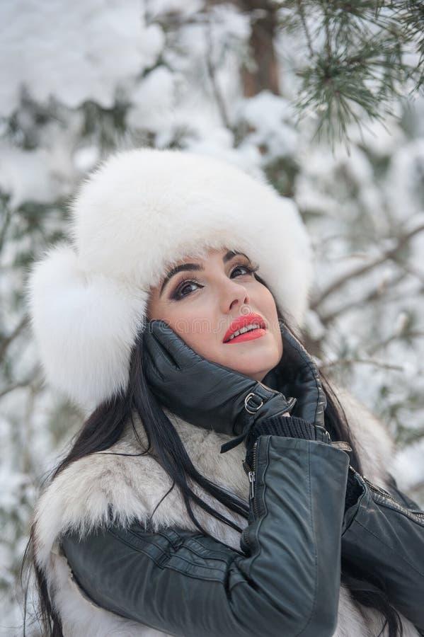 有白色毛皮盖帽和背心的妇女享受冬天风景的在铁篱芭附近 有吸引力的长的头发深色女孩摆在 图库摄影
