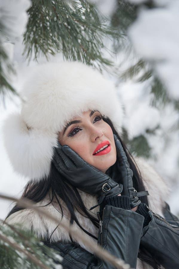 有白色毛皮盖帽和背心的妇女享受冬天风景的在铁篱芭附近 有吸引力的长的头发深色女孩摆在 免版税图库摄影