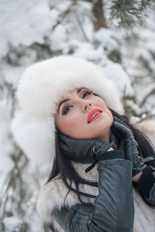 有白色毛皮盖帽和背心的妇女享受冬天风景的在铁篱芭附近 有吸引力的长的头发深色女孩摆在 库存图片