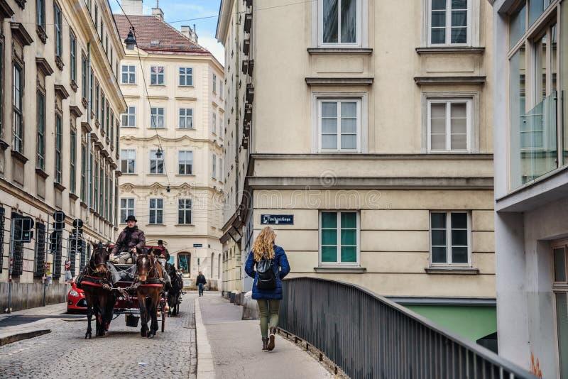 有用马拉的支架的维也纳街道 免版税库存图片