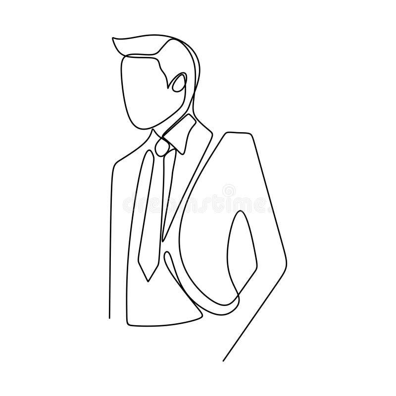 有衣服礼服实线的著名商人身分姿势成功概念艺术图画一个人  库存例证